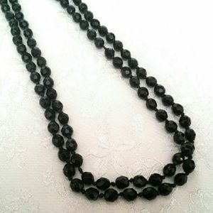 VTG Long Black Faceted Glass Bead Necklace